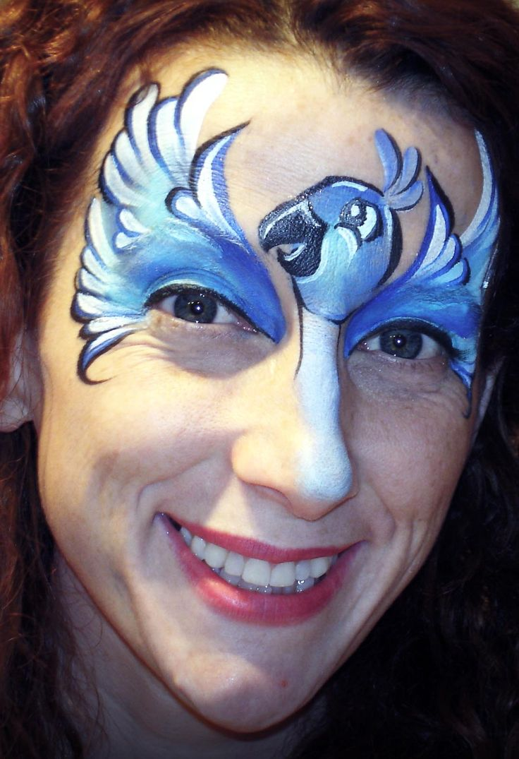 """Rio 2″ Inspired Blue Macaw Face Paint Design VIDEO Tutorial—Face Painting Tips Shop"