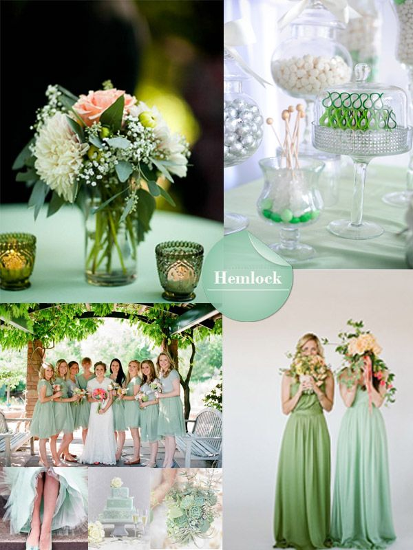 hemlock green spring wedding color 2014 trend with hemlock green bridesmaid dresses and centerpieces ideas