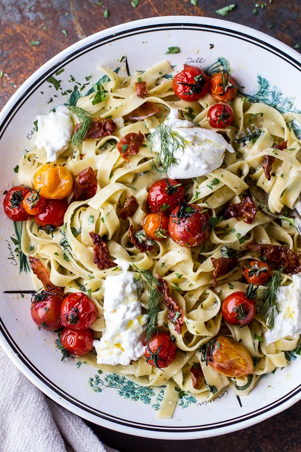 Garlic and Herb Roasted Cherry Tomato Carbonara w-Crispy Prosciutto + Burrata | halfbakedharvest.com @hbharvest