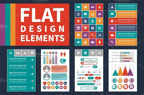 Flat Design Elements & Icons Set by serkorkin on @creativemarket