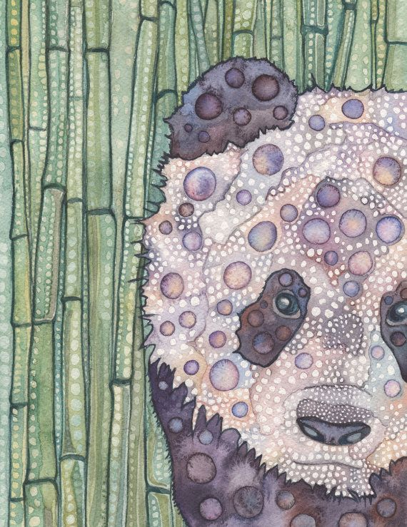 Panda 8,5 x 11 imprimer d'oeuvre aquarelle détaillées dans les tons de terre pourpres mauves lavande avec bambou vert luxuriant, favori de la pépinière