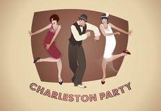 Charleston Party : Homme et filles drôles dansant Charleston Image stock