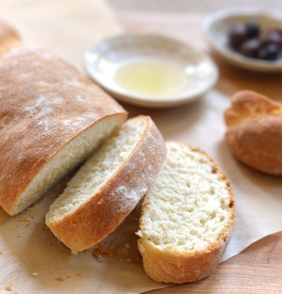 Sliced Bread with Oil and Olives