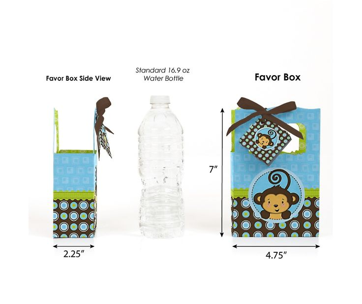 Monkey Boy - Personalized Baby Shower Favor Boxes | BigDotOfHappiness.com