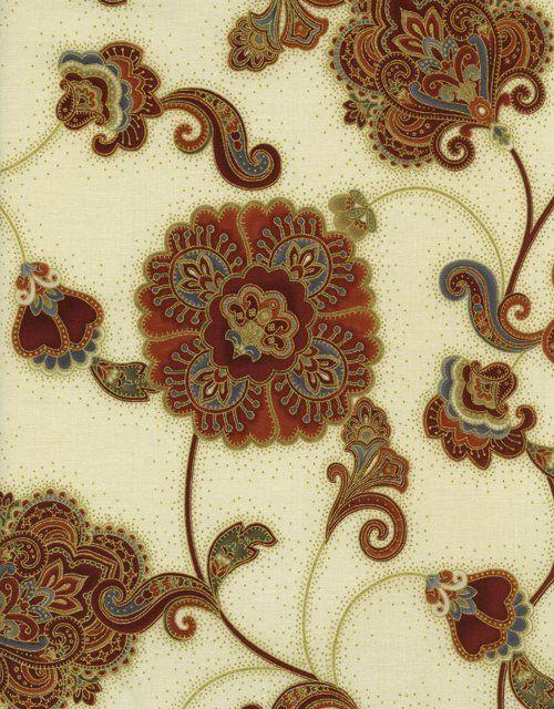 Timeless Treasures - Pashmina CM9639-Tan Paisley Floral