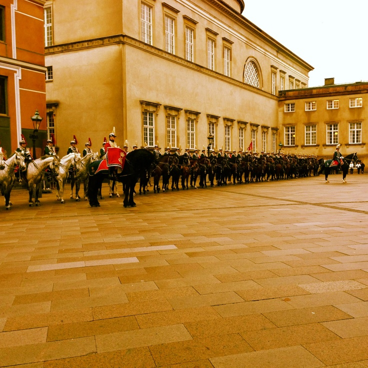 Danish hussars lined up awaiting the Queen's arrival.