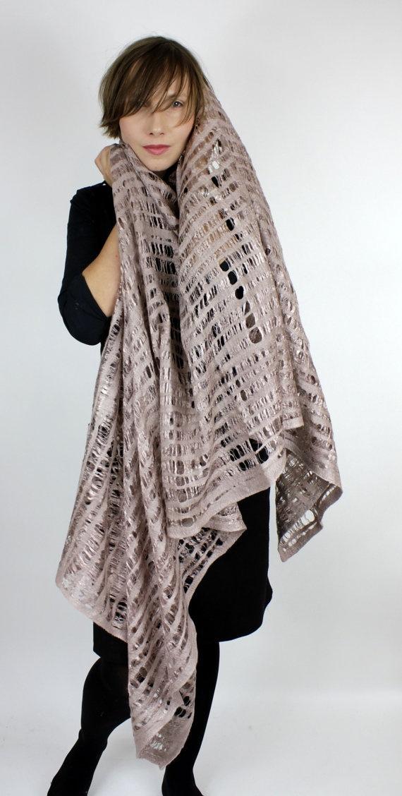 wool/silk felted scarf