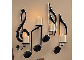 candelabros  con notas musicales