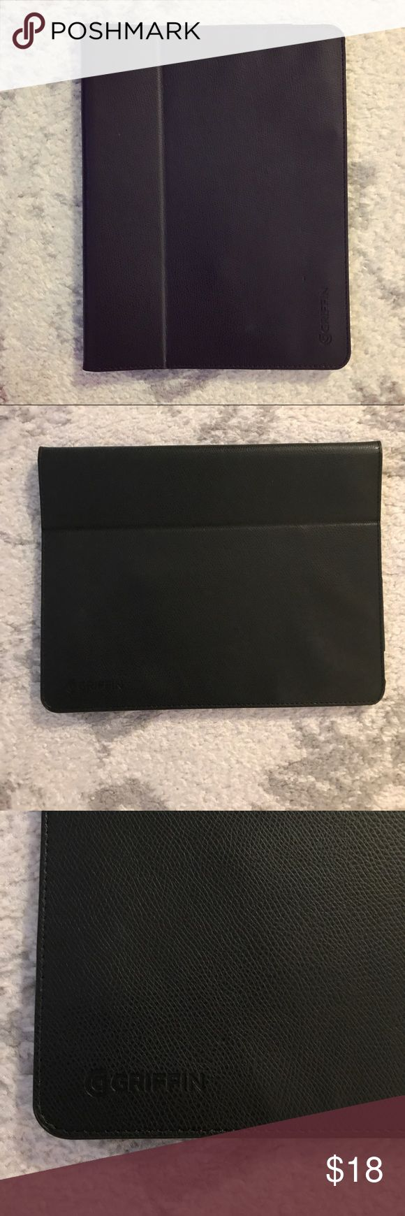 Black leather Griffin iPad tablet case Black leather iPad tablet case from Griffin. The case measures 10 inches by 7.5 inches, and I have held an iPad Air and iPad Pro in it. Both sides of the case are sturdy, and the front side has a fold in it to make the case stand up. Underneath the iPad slot, there is an open pocket to put papers, etc. The case has been used, but is in great condition with a lot of life left in it! This is a quality case! Griffin Accessories Tablet Cases