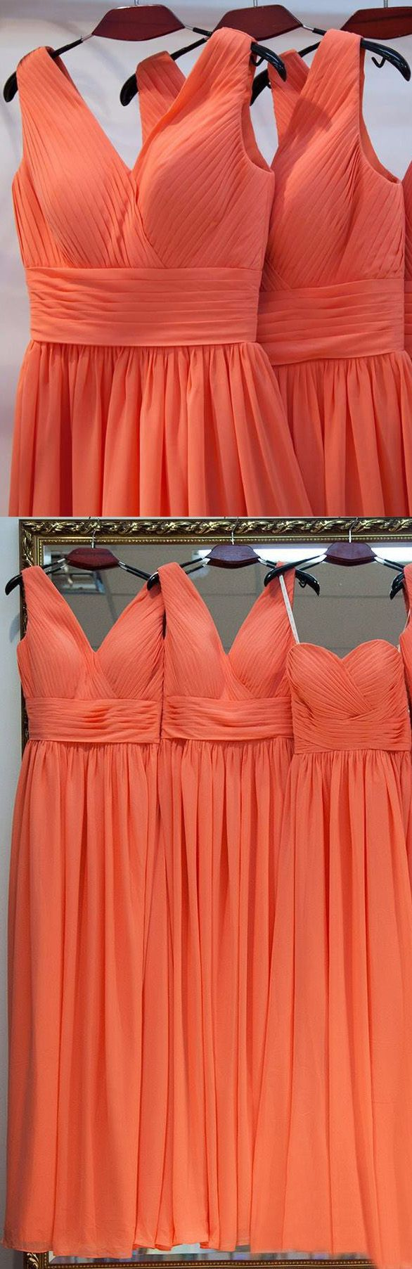 Long Coral Bridesmaid Dresses, Long Bridesmaid Dresses, Coral Bridesmaid Dresses, Coral Long dresses, Long Coral dresses, Bridesmaid Dresses Organge A-line V-neck Long Bridesmaid Dresses