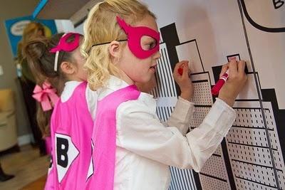 Anders Ruff Super Hero Party Coloring Graffiti Wall (www.andersruff.com): Superhero Bash, Superhero Birthday, Super Hero Parties, Superhero Parties, Parties Ideas, 4Th Parties, Ander Ruff, Pink Superhero, Super Heroes Parties