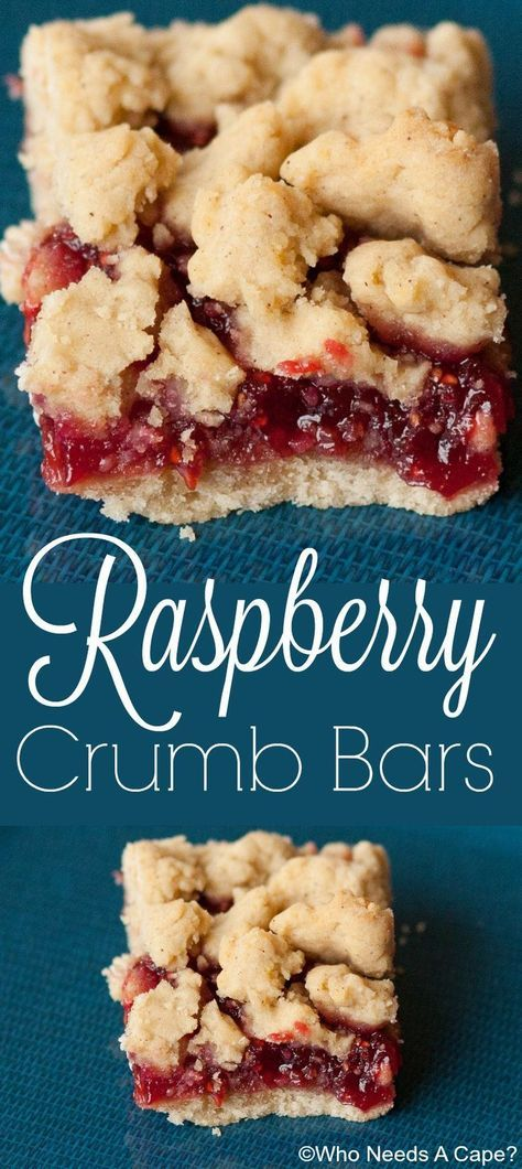 Raspberry crumb bars are sweet and tart at the same time. The butter crumbs and the raspberries compliment each other so well.   Who Needs A Cape?  