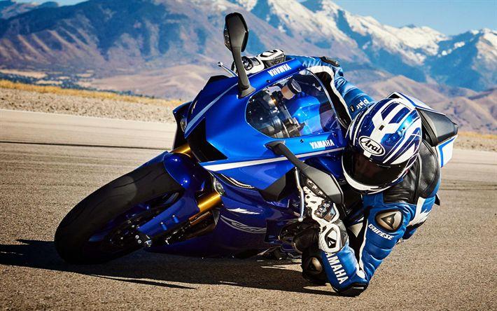 Descargar fondos de pantalla Yamaha YZF-R6, piloto de 2017, bicicletas, motos deportivas, Yamaha