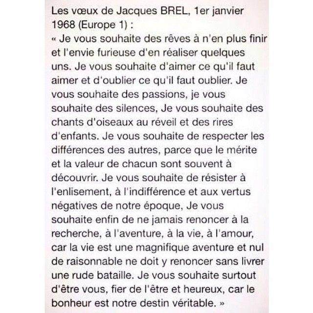 Voeux de Jacques Brel en '68 sur Europe