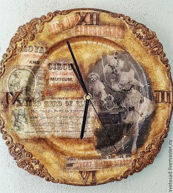 """Купить часы настенные """" Старый цирк 2"""" - коричневый, часы, часы настенные"""