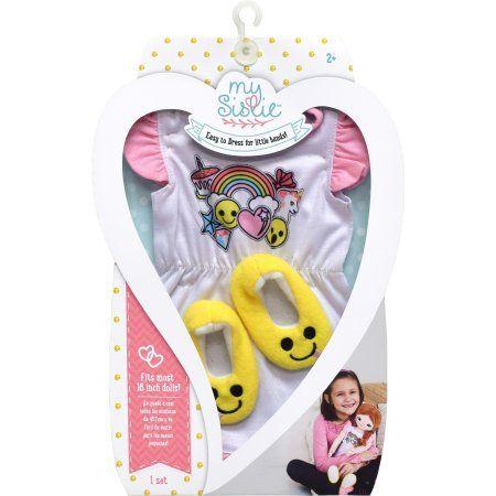 My Sistie Doll Emoji Pajamas W/Slippers - White & Pink W/Yellow Slippers