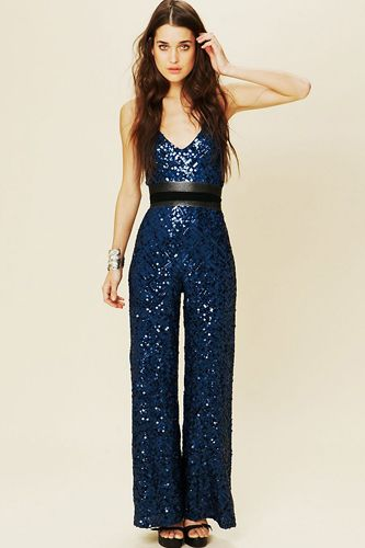 Daintily beautiful Sapphire Sequin Retro-ish Jumpsuit made for these modern times.