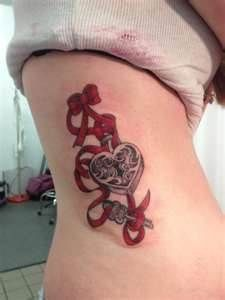 filigree padlock key pink bow tattoo - Google Search