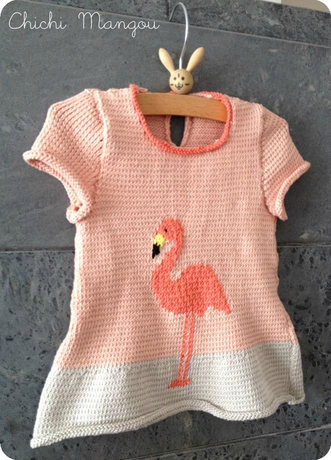tricot, robe, flamand rose