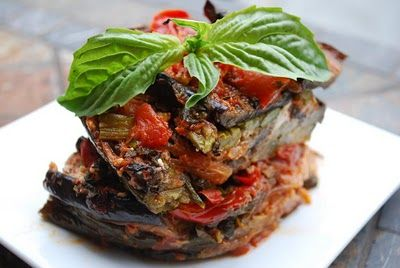 Roasted Vegetable Lasagna (add sausage layer) by @JensGonePaleo