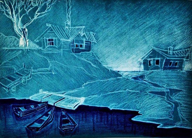 48 отметок «Нравится», 2 комментариев — Oksana Kuksa (@oksanakuksa_art) в Instagram: «Монохромный скетч пастелью+белая тушь -------------------- Russian village monochrome sketch, blue…»