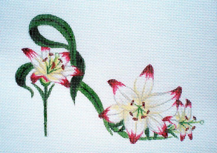 """Handpainted Needlepoint Flower Slipper, on 18ct., 7"""" X 5"""""""