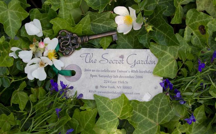 key invitations for a secret garden party...love!