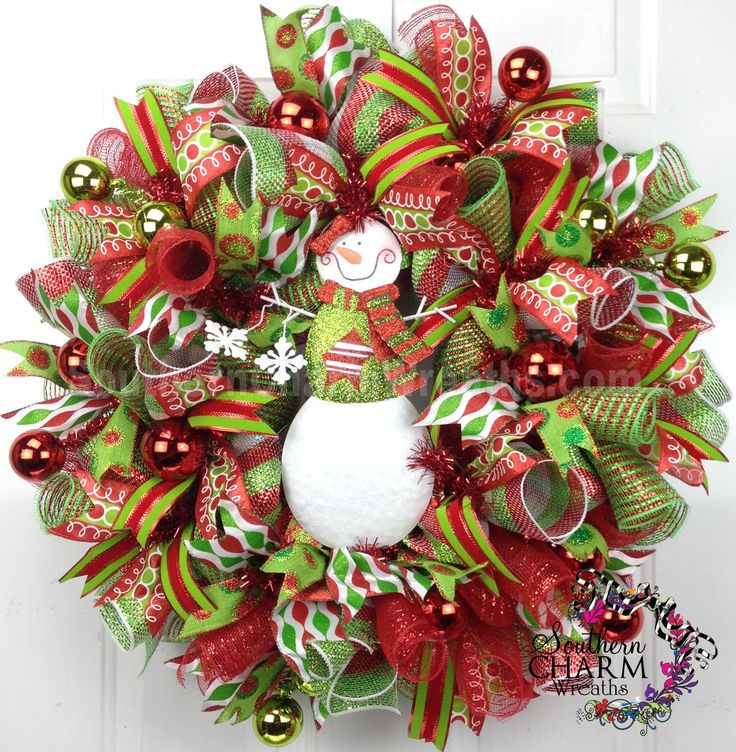 83 best christmas wreaths for front door images on pinterest deco mesh christmas wreath for door or wall red lime green snowman by southerncharmwreaths solutioingenieria Gallery