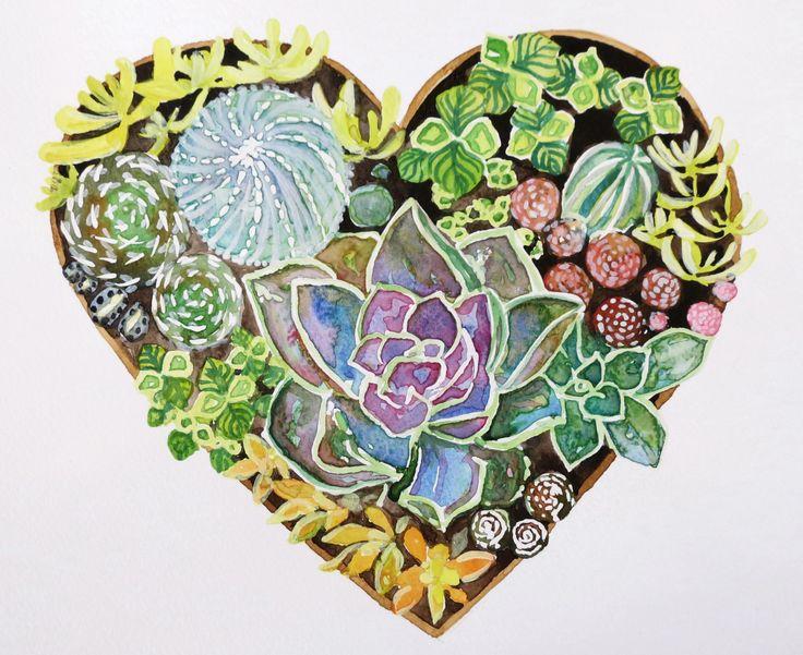 Cactus print, cactus illustration, cactus watercolour, succulent print, heart cactus by SavannaLife on Etsy