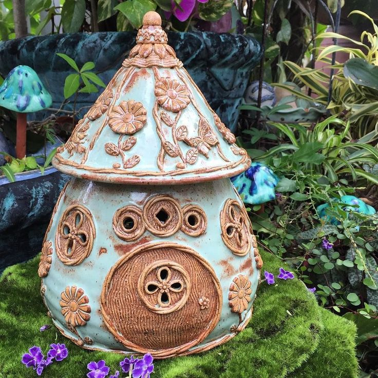 """The fairy house collection continues...this one is glazed in a lovely earthy mint green with rust brown accents. Size is 10 1/4"""" tall x 7 3/4"""" wide. Shop Update tonight at 7:00 QueenBeePottery.Com link in profile #fairyhouse #pottery #ceramics #garden #thehappynow #thatsdarling #handmadelove #queenbeepottery #etsymudteam"""