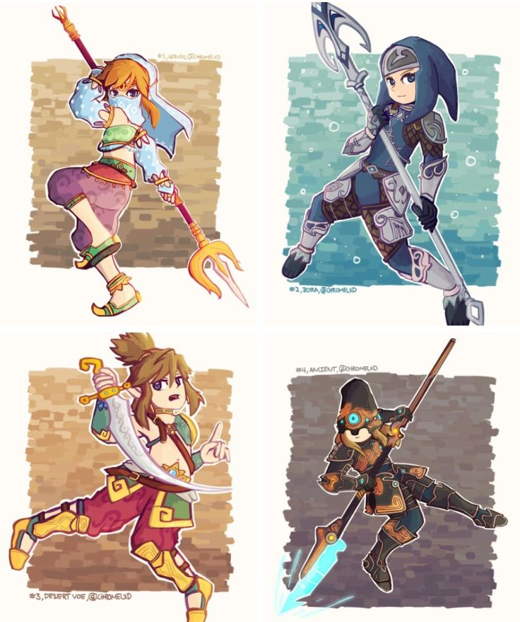 BOTW Link's different outfits.