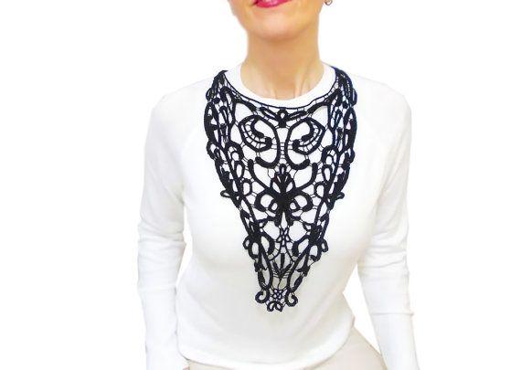 Black Victorian lace necklace Statement Lace Bib by HAREMDESIGN