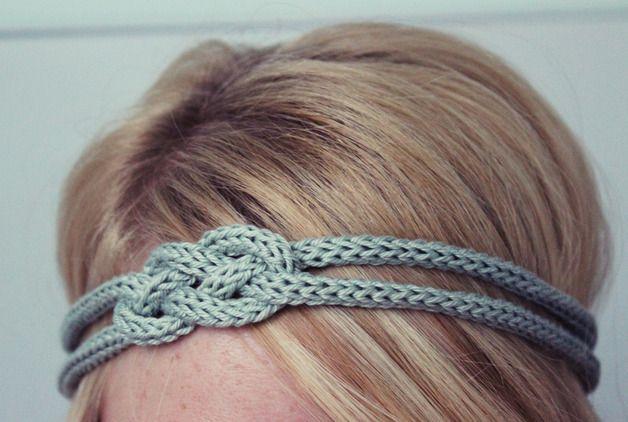 Haarbänder - Haarband mit Knoten, gestrickt, mintgrün - ein Designerstück von MissKnopf bei DaWanda