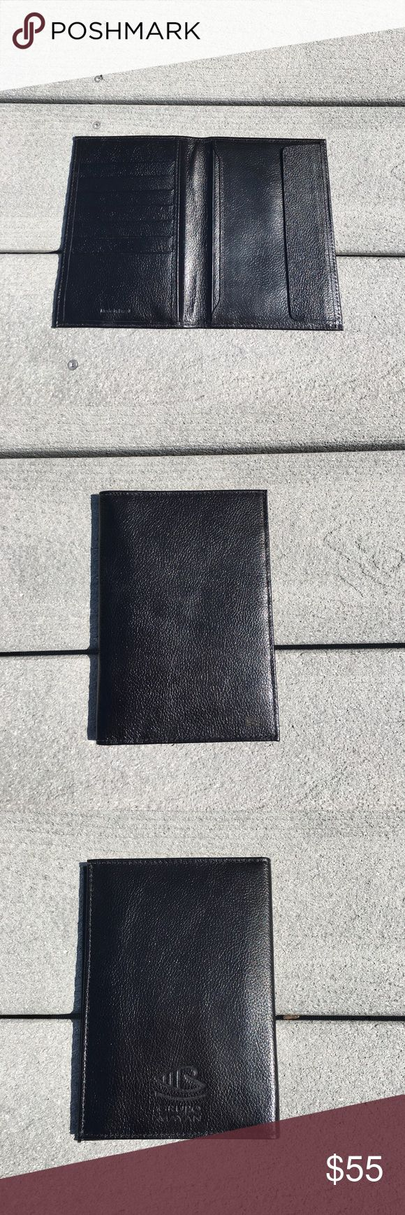 """NEW GENUINE LEATHER PASSPORT WALLET MONEY CREDIT BLACK GENUINE LEATHER PASSPORT WALLET CREDIT DOCUMENT MONEY HOLDER - NEW, NICE!  FULL GRAIN LEATHER - VERY NICE SHEEN!  STAMPED """"MADE IN BRAZIL""""  INITIALS STAMPED FAINTLY (BARELY NOTICEABLE) ON FRONT,  LOGO ON BACK. ONE WITH INITIALS """"JHH""""; OTHER """"IRH""""  IN ORIGINAL BOX  6.5"""" H x 4.5"""" W  LEFT: 7 HORIZONTAL CREDIT CARDS SLOTS & 2 VERTICAL SLOTS FOR MONEY/DOCUMENTS  RIGHT: 2 VERTICAL SLEEVES - FOR PASSPORT/DOCUMENTS & FLAP TO COVER PASSPORT…"""
