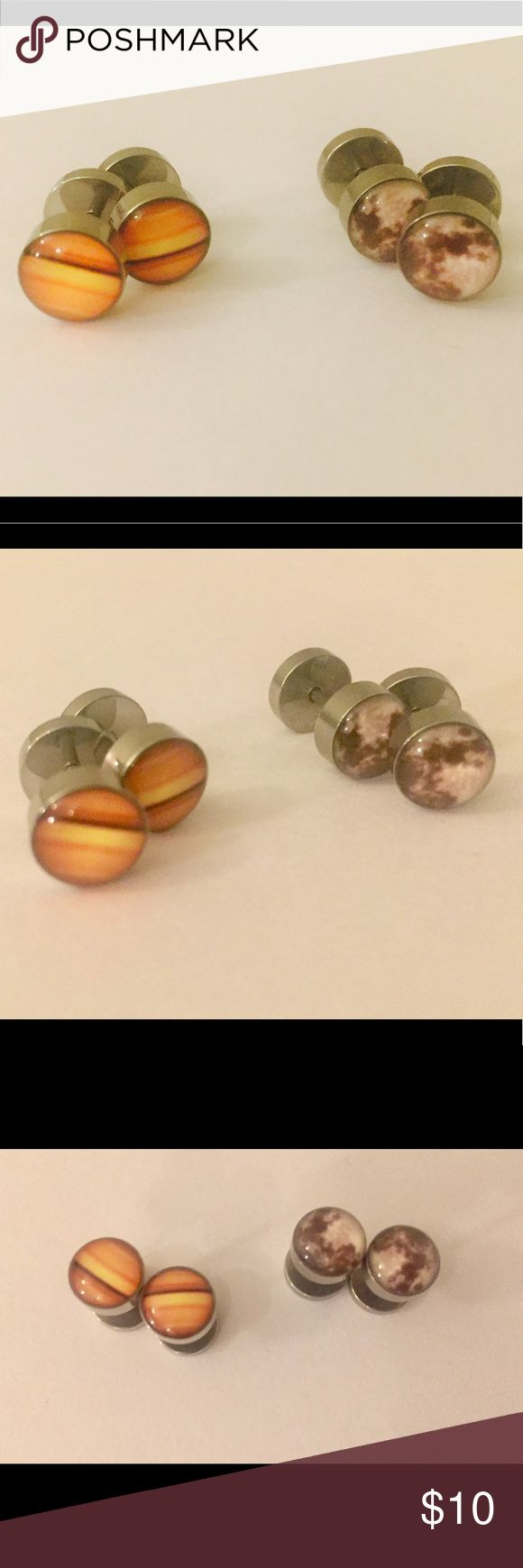 "NWOT- Galaxy/Planet Stainless Steel Earrings New without tags!  Barbell style (""plug look"") Gage is 16G (1.2mm) Pin length 5mm Stainless Steel, perfect for sensitive ears.  Screw on backing. Jewelry Earrings"