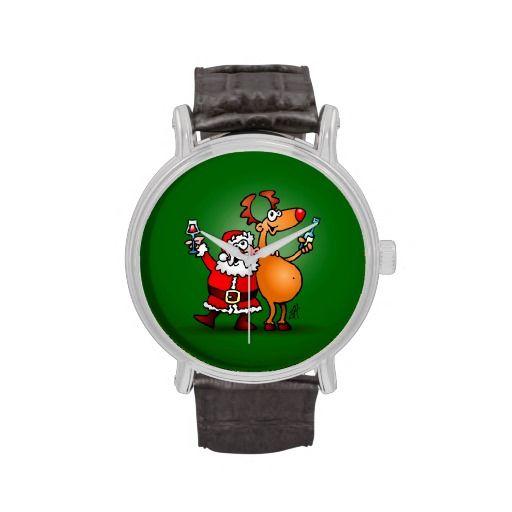 Santa Claus and his Reindeer Watch. #Zazzle #Cardvibes #Tekenaartje #Christmas