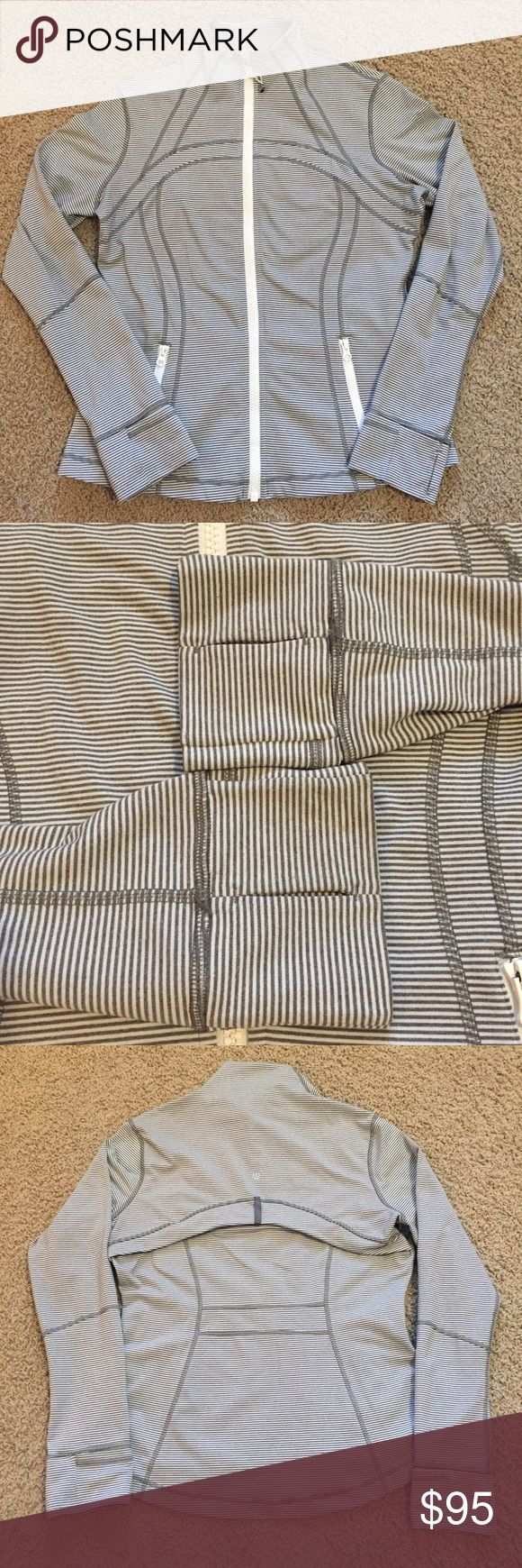 Lululemon Define Jacket Tonka Stripe Sz 12 Lululemon Define Jacket Tonka Stripe Heathered Slate White Sz 12.  VGUC.  See pic of hair tie/zip pull which is only flaw.  Price firm unless bundled. lululemon athletica Jackets & Coats