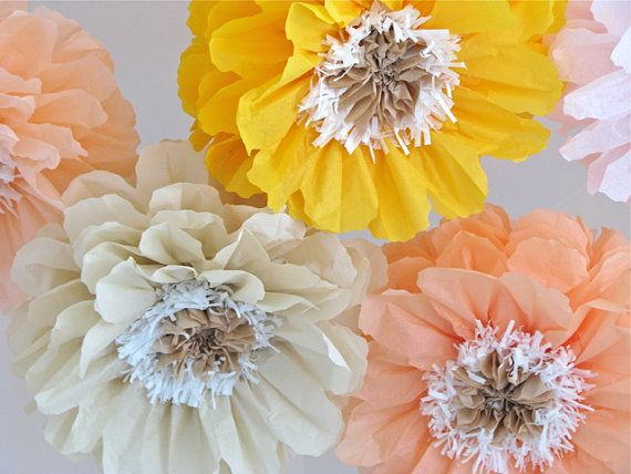 POPPY GLOW. 5 Giant Paper Flowers, hanging poppies, wedding, shower, window display, vintage tea party, nursery, Party Blooms by Whimsy Pie