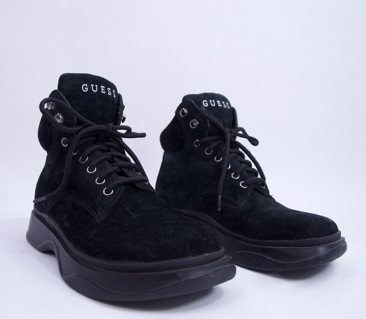 totally 90s vintage black leather GUESS chunky lace up platform boot Women's 7.5 90s shoes 90s clothing  grunge goth hipster vintage Guess by SlowhandVTG on Etsy https://www.etsy.com/listing/484316791/totally-90s-vintage-black-leather-guess