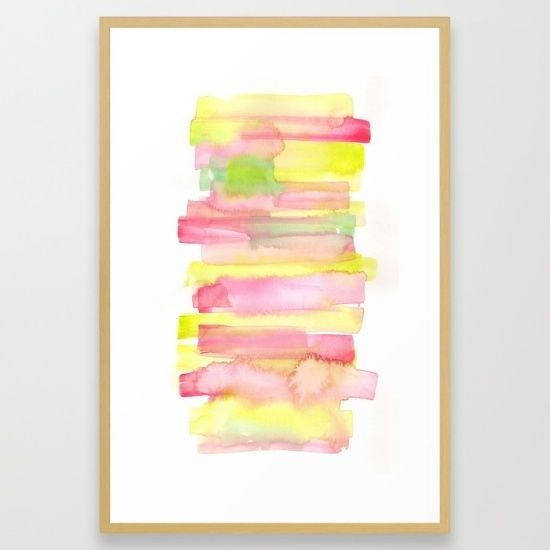 26 x38  FRAMED Large Watercolour Abstract FineArt Giclee Print Home Decor Yellow