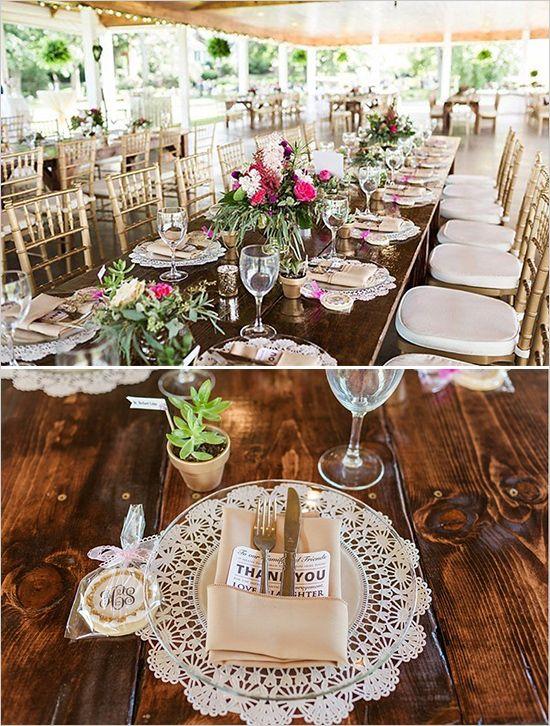 easy rustic wedding ideas | elegant gold and pink reception | table decor | favor ideas | #weddingchicks