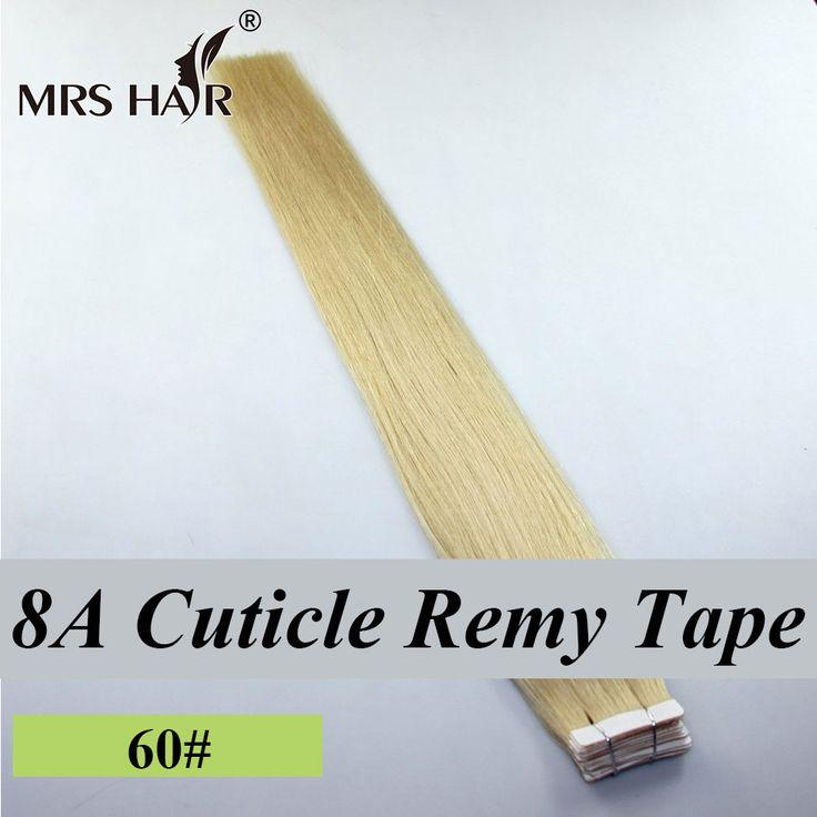 50センチキューティクルレミーテープで毛延長プラチナブロンド髪上のテープ20ピースpuスキン横糸ヘアエクステンションmrshair 8a