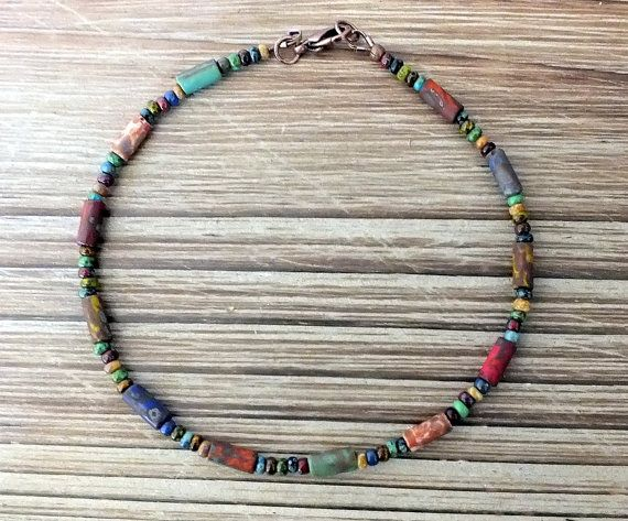Beautiful and colorful Czech Picasso seed beads and aged Picasso bugle beads have been used to create this wonderfully bohemian ankle bracelet. This