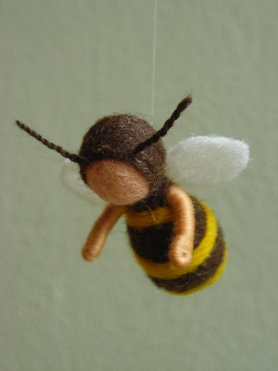 Bees mobile - needle felted, walorf inspired