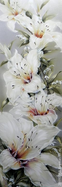 """""""Прикосновение """" - акварель,Живопись,лилии,алексвеева людмила,роспись ткани"""