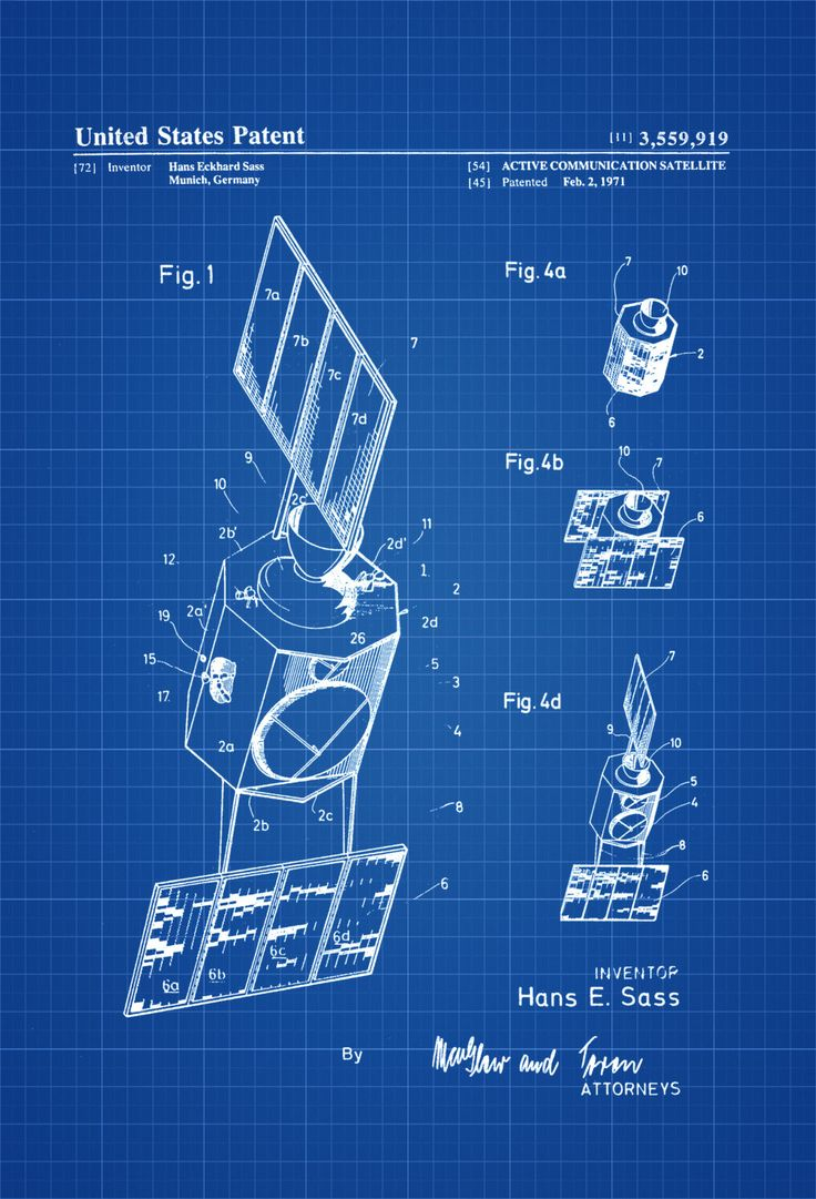 A patent print poster of a Active Communication Satellite invented by Hans Eckhard Sass.  The patent was issued by the United States Patent Office on February 2, 1971.Patent prints allow you to have a piece of history in your Home, Office, Man Cave, Geek Den or anywhere you wish to add an interesting ...
