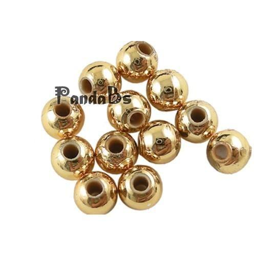 Карнавальные торжества, золотой тон покрытие марди гра акриловые круглые бусины, около 8 мм в диаметре, отверстие : 1.5 мм