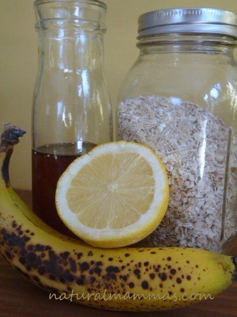 Natural beauty recipes facial mask w/ Lemon, Honey, Banana, & Oats.
