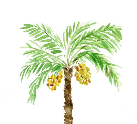 Palm Tree art print of original watercolor painting in Green brown and Yellow,  Mediterranean, coast , beach,  Date Tree on Etsy, $21.00