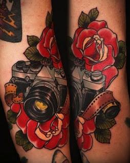 wow: Tattoo Ideas, Rose, Body Art, Camera Tattoos, Traditional Tattoo, Cameras